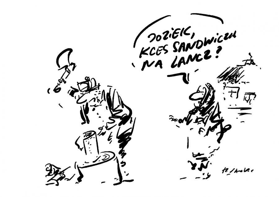 Lunch służbowy / rys. Henryk Sawka
