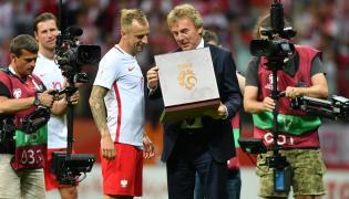 Kamil Grosicki (L) i prezes PZPN Zbigniew Boniek (P)