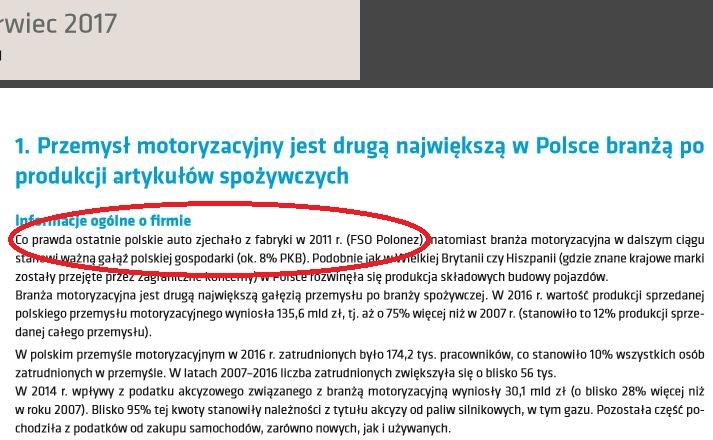Wpadka w raporcie o motoryzacji w Polsce. Polonez był produkowany do 2002, a nie do 2011. W 2011 w FSO koniec chevroleta aveo