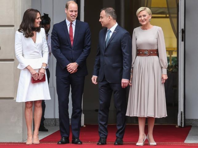 Księżna Catherine i książę William oraz Andrzej Duda oraz Agata Kornahauser-Duda