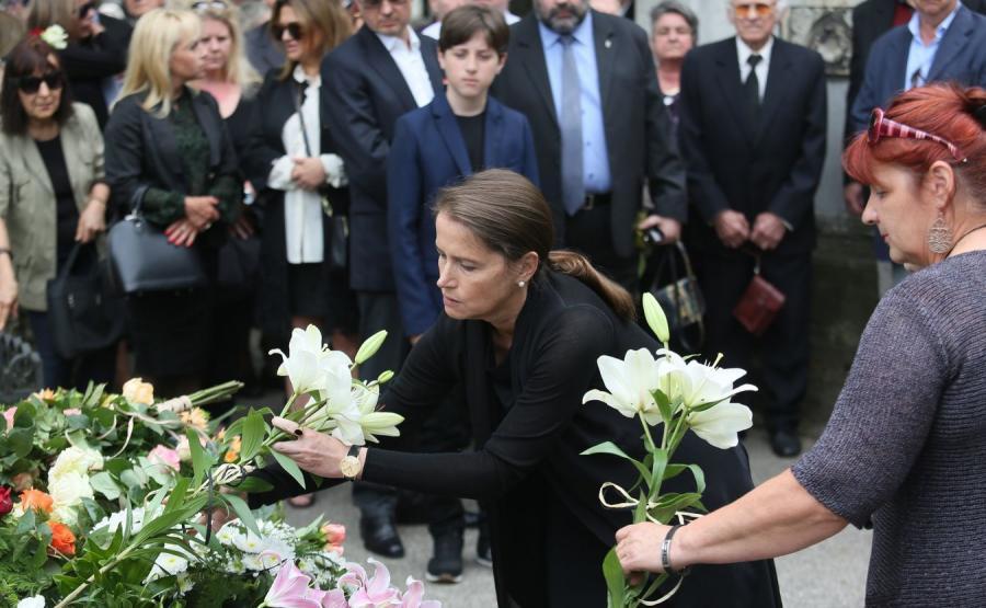 Monika Jaruzelska podczas uroczystości pogrzebowych swojej matki Barbary