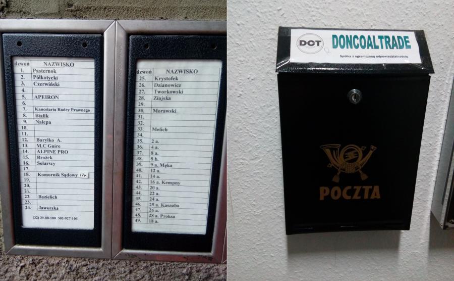 Lista najemców biurowca przy ul. Barbary w Katowicach; skrzynka pocztowa Doncoaltrade