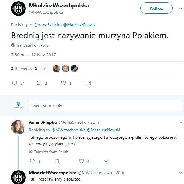 Dyskusja na profilu Młodzieży Wszechpolskiej