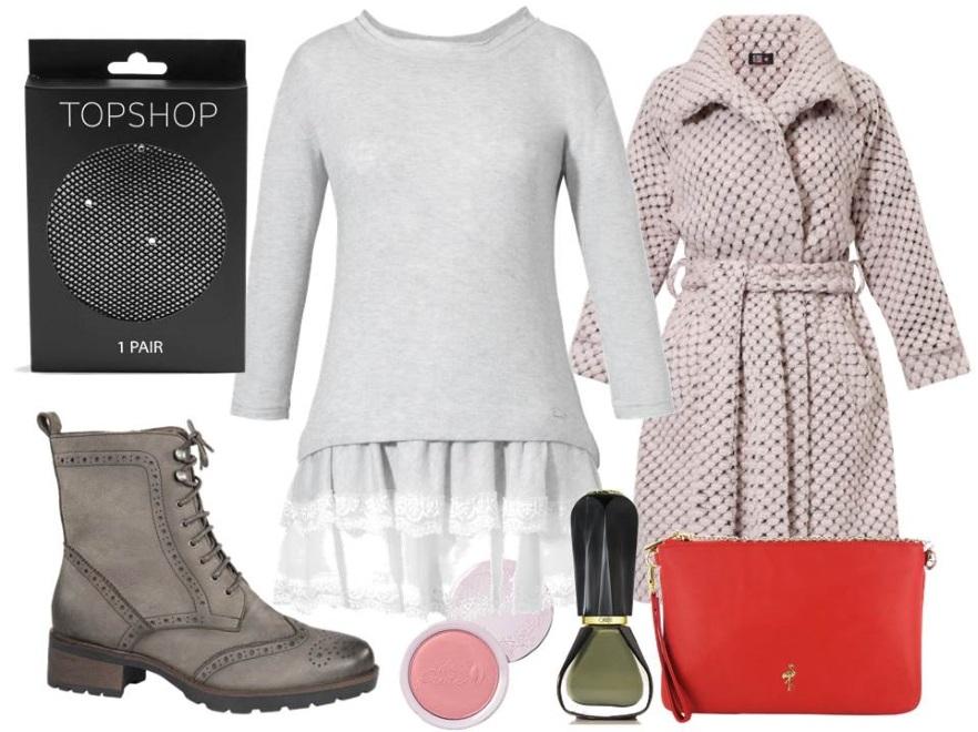 Sukienki na zimę: Sukienka i płaszcz- Midori Feminine Fashion/midori.com, buty - Caprice/caprice.pl, torebka - Menbur/menbur.pl,  dodatki – TK Maxx