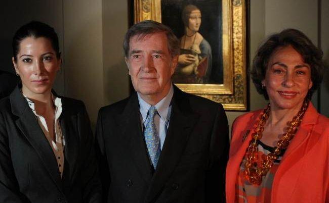 Książę Adam Karol Czartoryski z córką Tamarą i żoną Josette Calil