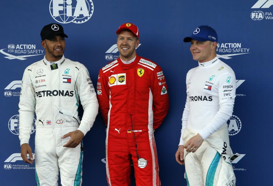 Lewis Hamilton, Sebastian Vettel i Valtteri Bottas