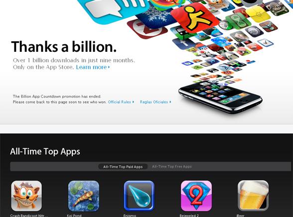AppStore\'owi stuknął miliard