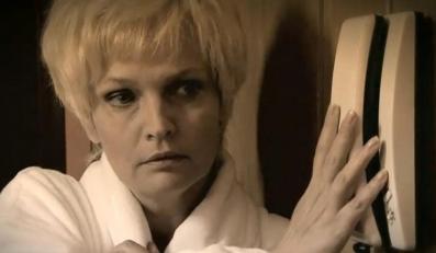 Adrianna Biedrzyńska w roli Barbary Blidy w dokumencie TVP 2