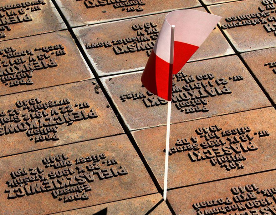 Polska flaga na grobach polskich żołnierzy