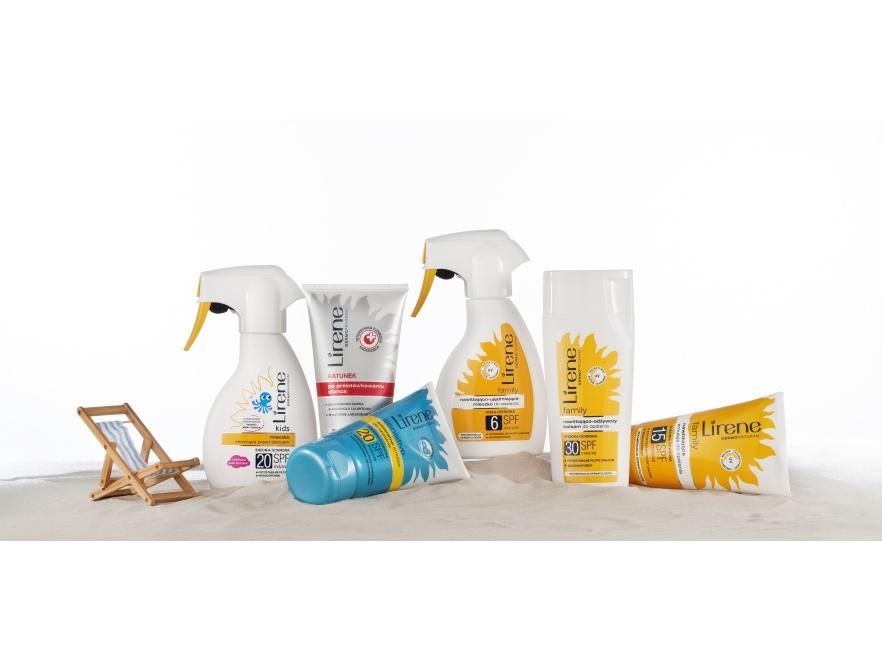 W wakacyjnej apteczce nie może zabraknąć środków chroniących przed słońcem - na zdjęciu kosmetyki marki LIRENE.
