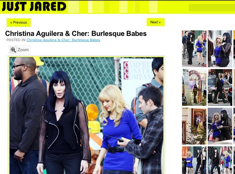 Cher i Christina Aquilera na planie \