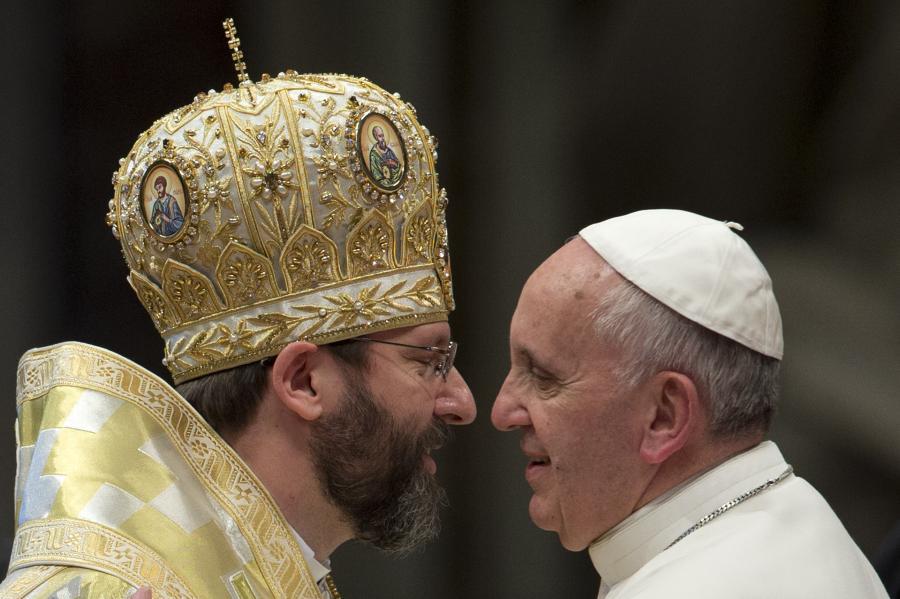 Papież Franciszek i głowa Ukraińskiego Kościoła Grekokatolickiego, arcybiskup Światosław Szewczuk