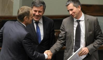 Donald Tusk, Janusz Piechociński i Mateusz Szczurek