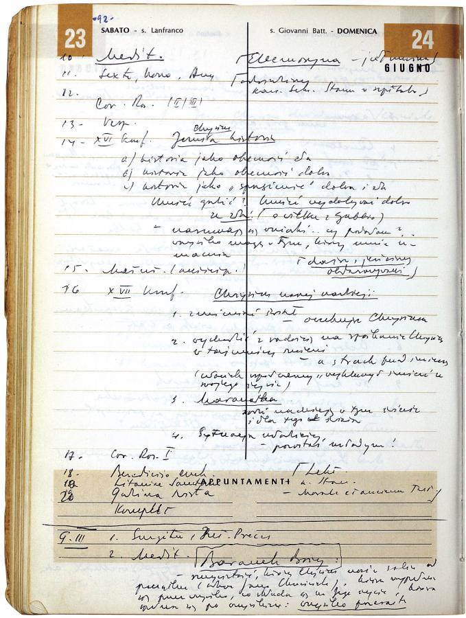 Odręczne notatki Jana Pawła II