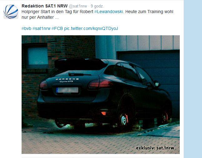 Porsche cayenne GTS Lewandowskiego zostało okradzione w lutym 2014 roku