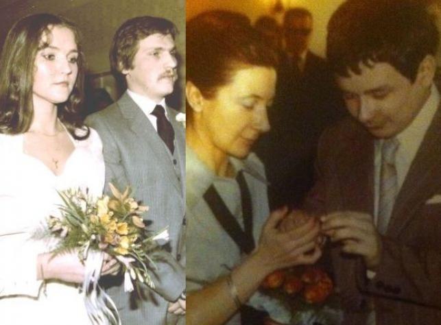 ślubne zdjęcia Jolanty i Aleksandra Kwaśniewskich oraz Lecha i Marii Kaczyńskich