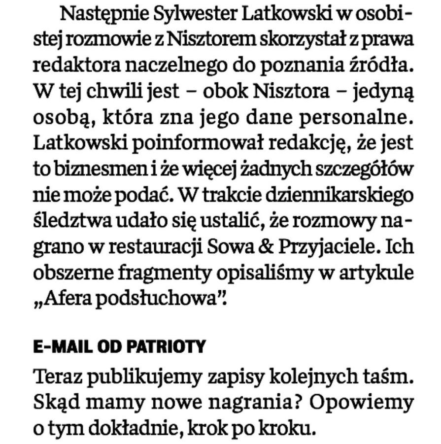 Źródłem podsłuchów jest biznesmen - ujawnia Michał M. Lisiecki, wydawca tygodnika \