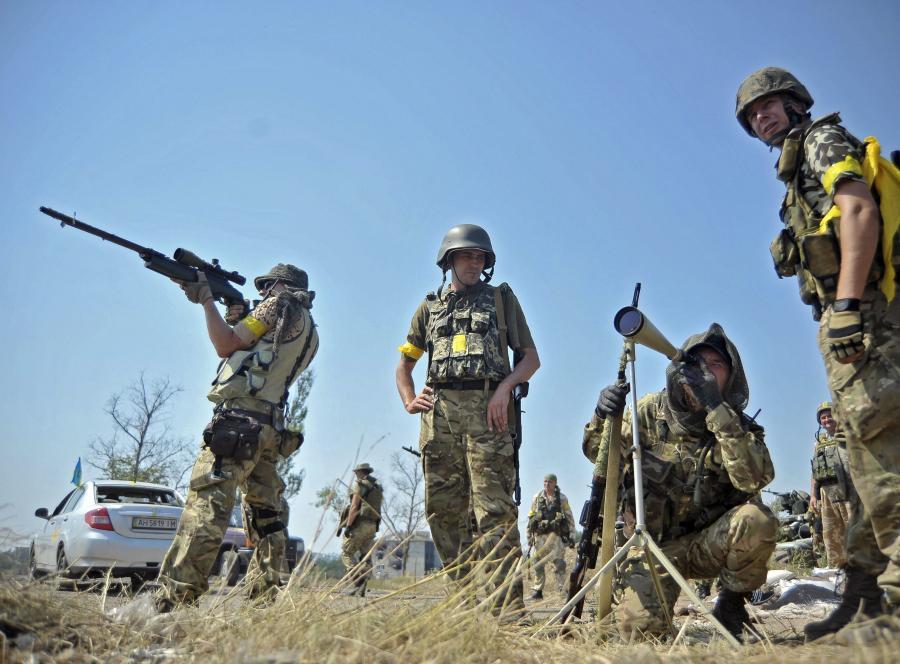 Ukraińscy żołnierze z ochotniczego batalionu \
