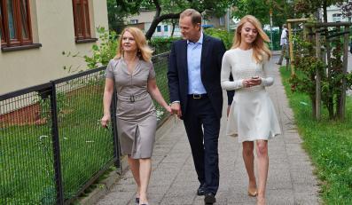 Donald Tusk z żoną Małgorzatą i córką Katarzyną
