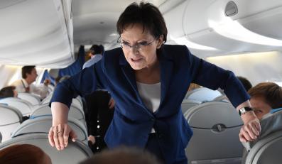 Ewa Kopacz w samolocie
