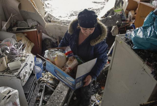 Zniszczone domy w Doniecku