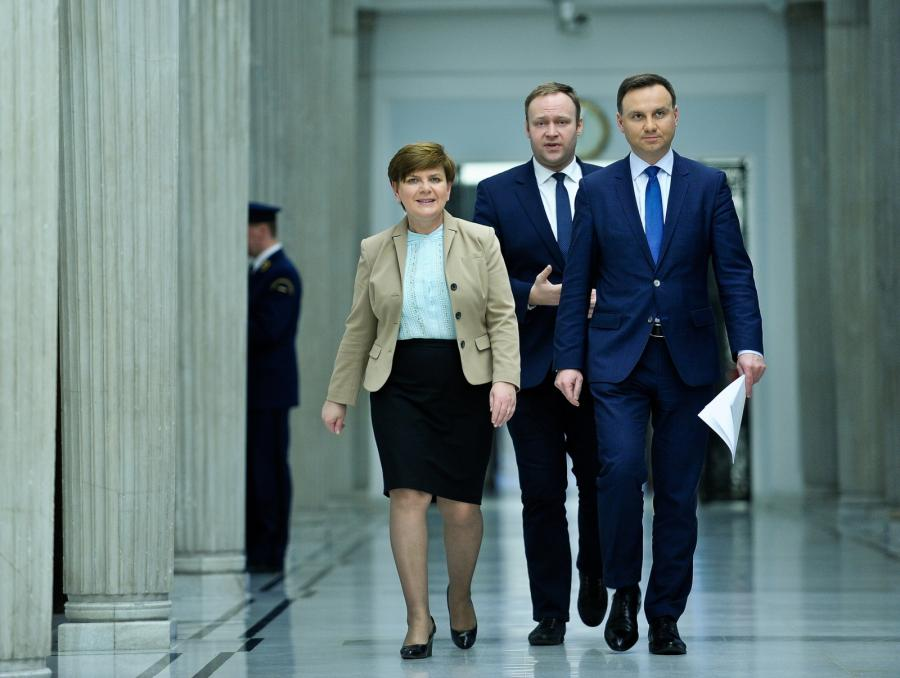 Beata Szydło, Marcin Mastalerek i Andrzej Duda