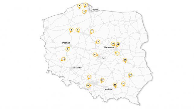 Rejestratory przejazdu na czerwonym świetle mapa