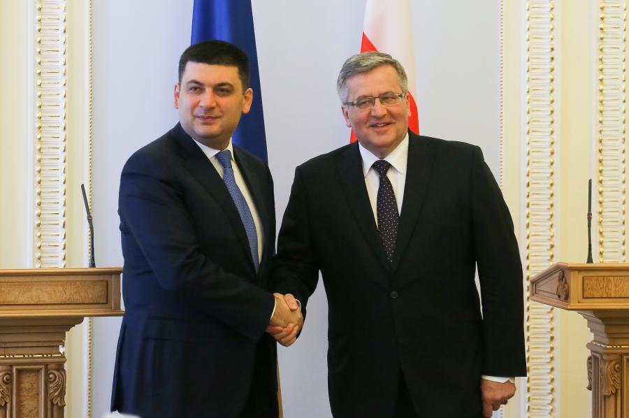 Prezydent RP Bronisław Komorowski i przewodniczący Rady Najwyższej Ukrainy Wołodymyr Hrojsman