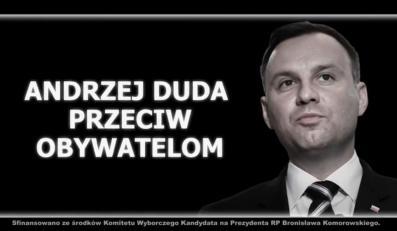 """""""Andrzej Duda przeciw obywatelom"""". Kadr z nowego spotu sztabu wyborczego Bronisława Komorowskiego"""