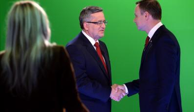 Bronisław Komorowski i Andrzej Duda w czasie debaty w TVN