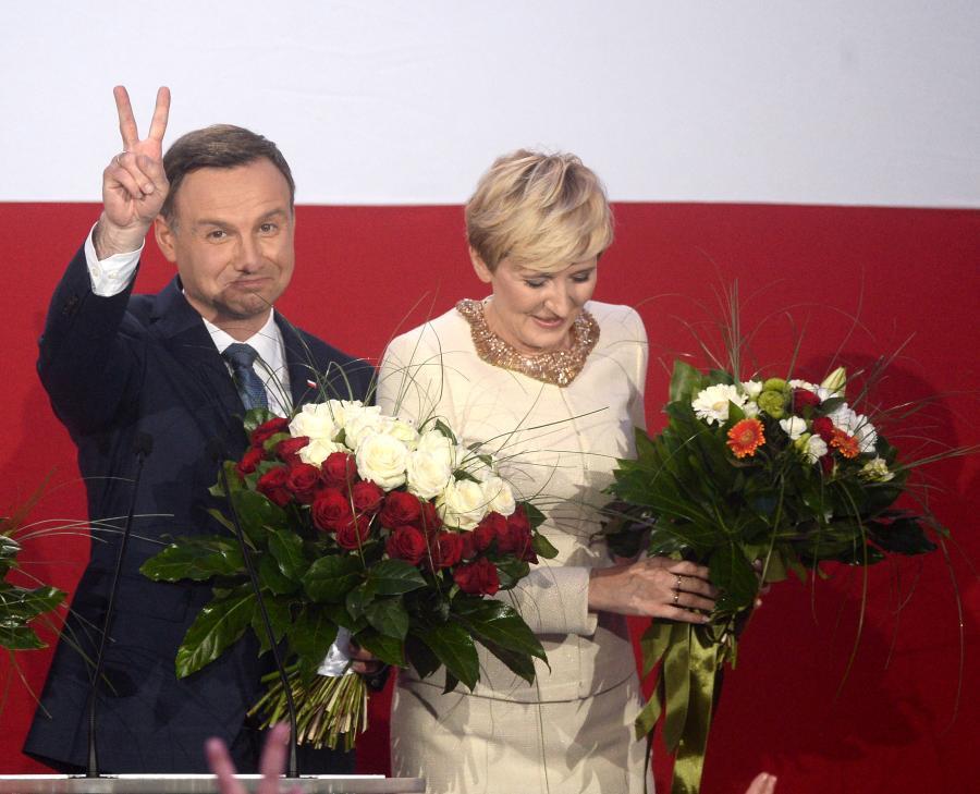 Andrzej Duda i jego żona Agata w sztabie wyborczym