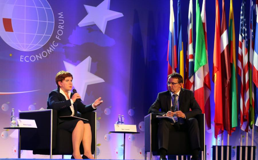 Beata Szydło i Igor Janke w czasie Forum Ekonomicznego w Krynicy