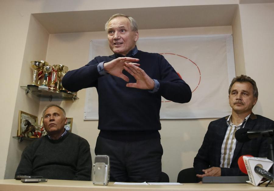 Liderzy białoruskiej opozycji: Mikoła Statkiewicz, Uładzimir Niaklajeu i Anatolij Labiedźka