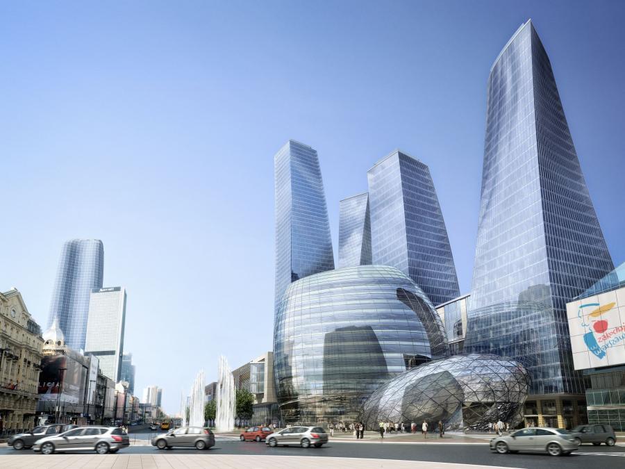Jedna z koncepcji zabudowy Placu Defilad nad linią średnicową