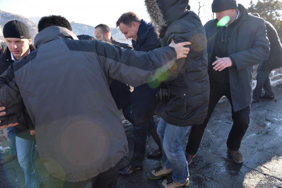 Andrzej Duda na Wielkim Murze Chińskim