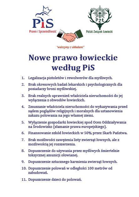 Nowe Prawo Łowieckie wg. PiS (fot. Facebook/Pracownia na rzecz Wszystkich Istot)