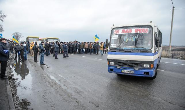 Protest ukraińskich górników. Zablokowali trasę z Lwowa do Warszawy [ZDJĘCIA]