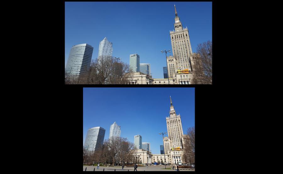 Na górze zdjęcie zrobione aparatem w telefonie Samsung Galaxy S6, na dole - S7