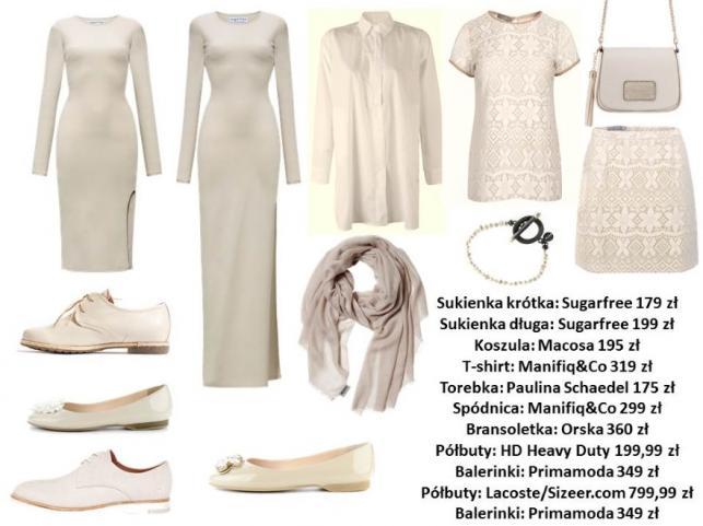 Ubrania i dodatki w różnych odcieniach koloru nude