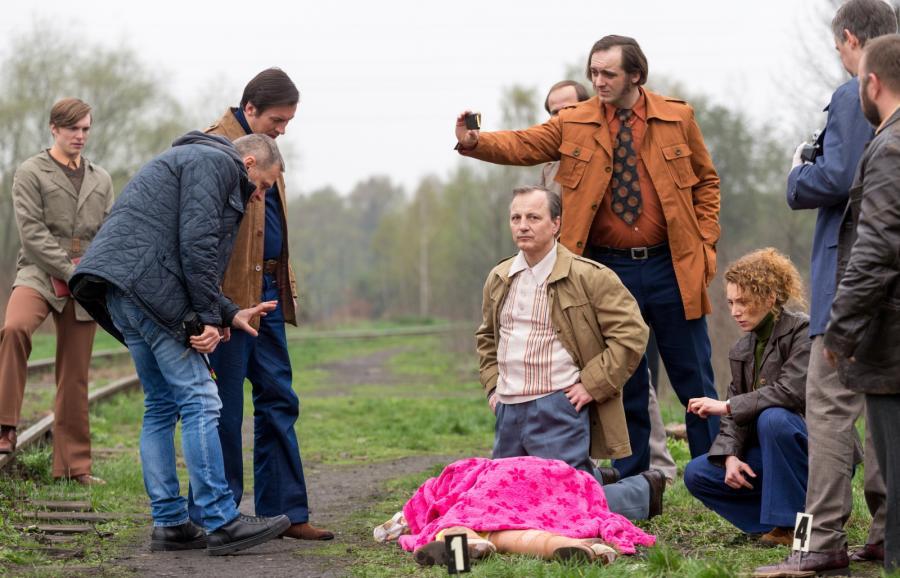 """Dariusz Niebudek, Maciej Pieprzyca , Katia Paliwoda i Mirosław Haniszewski na planie """"Jestem mordercą"""""""