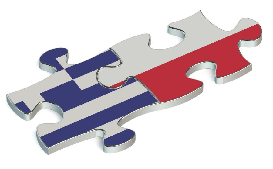 Flagi Grecji i Polski na puzzlach