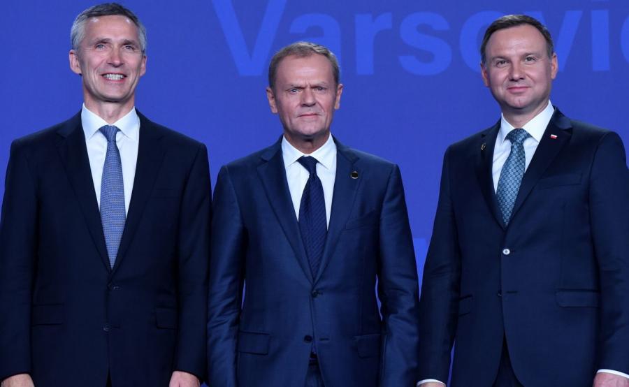 Jens Stoltenberg, Donald Tusk i Andrzej Duda