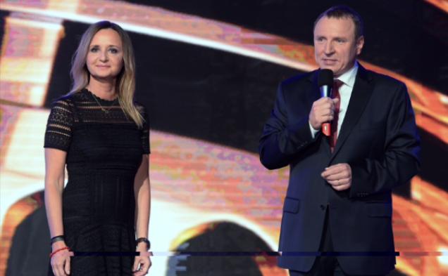 Joanna Klimek i Jacek Kurski na konferencji TVP