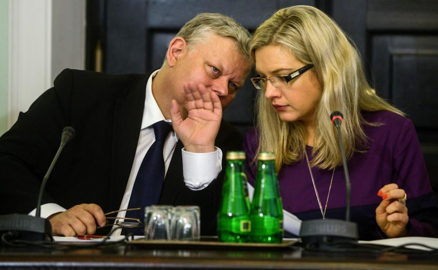 Marek Suski i Małgorzata Wassermann w czasie obrad komisji śledczej