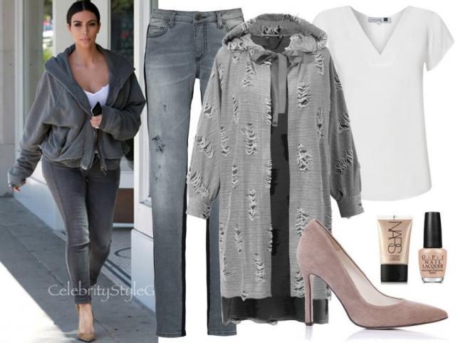 STYLIZACJE inspirowane Kim Kardashian: Spodnie – CristinaEffe/cristinaeffe.com.pl, bluzka – Jelonek/jelonek.pl, bluza – Boca/boca.pl, buty – Gianmarko/gianmarko.com.pl, akcesoria TKMAXX/tkmaxx.pl