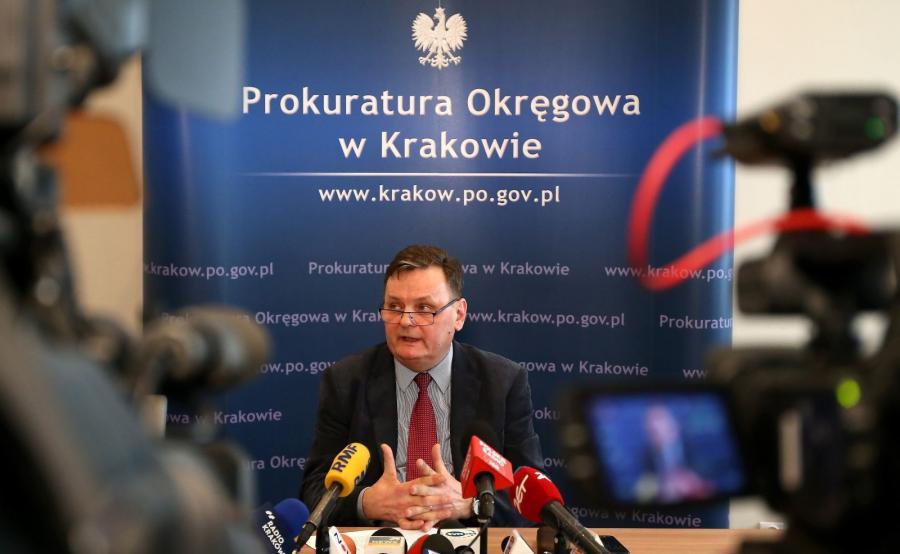 Rzecznik prokuratury regionalnej - prokurator Włodzimierz Krzywicki, podczas konferencji prasowej w Krakowie