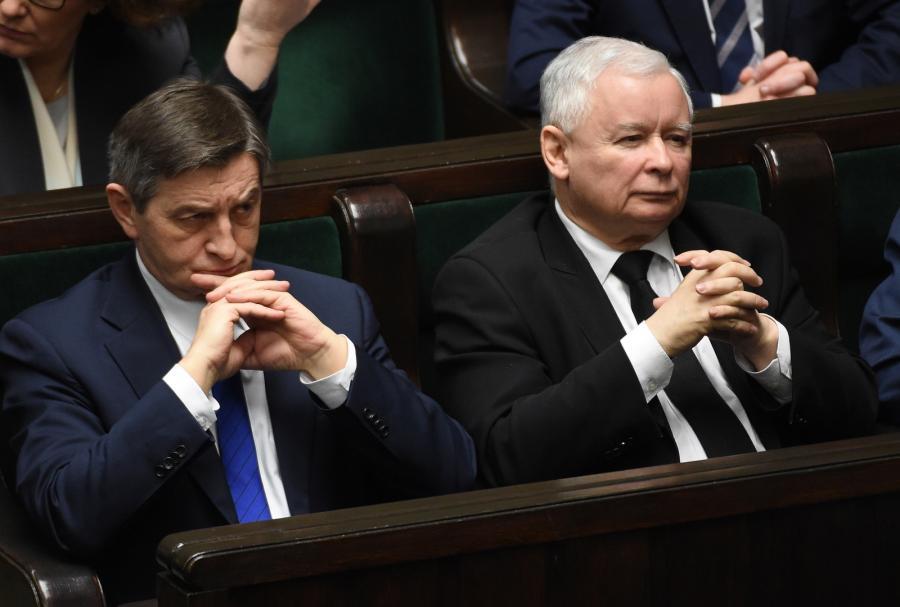 Prezes Prawa i Sprawiedliwości Jarosław Kaczyński oraz marszałek Sejmu Marek Kuchciński