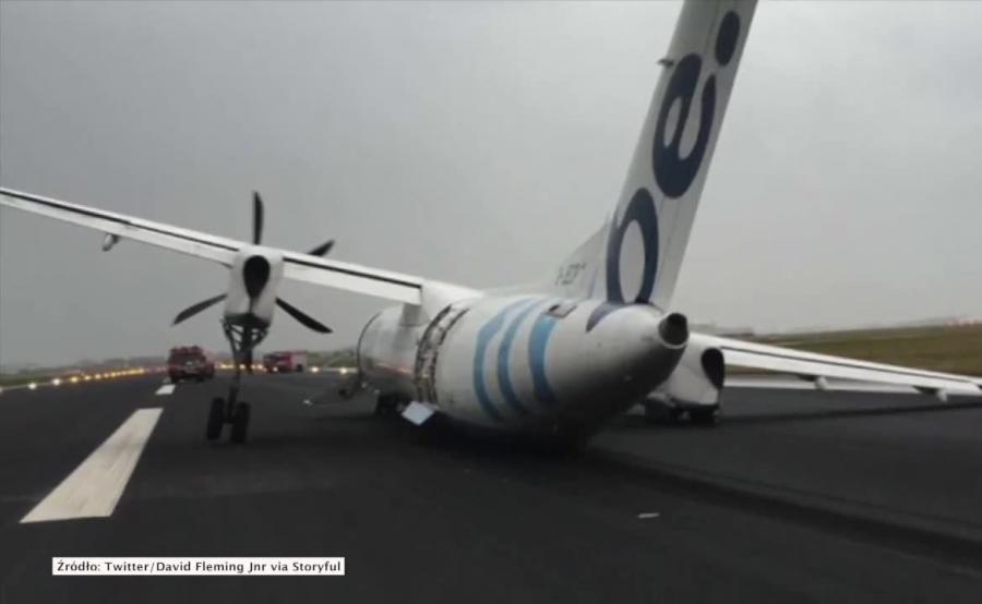 Załamało się podwozie w lądującym samolocie