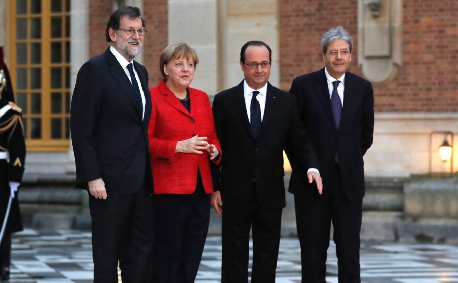 Premier Hiszpanii Mariano Rajoy, kanclerz Niemiec Angela Merkel, prezydent Francji Francois Hollande i premier Włoch Paolo Gentiloni